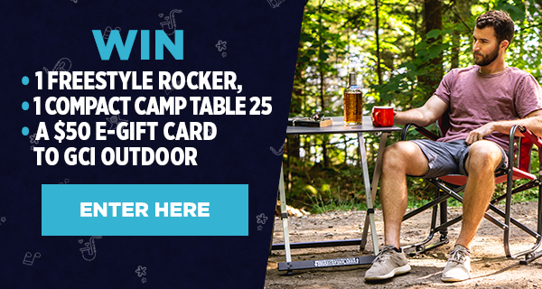 Enter to Win GCI Outdoor Freestyle Rocker, Compact Camp Table 25 + $50 E-Gift Card