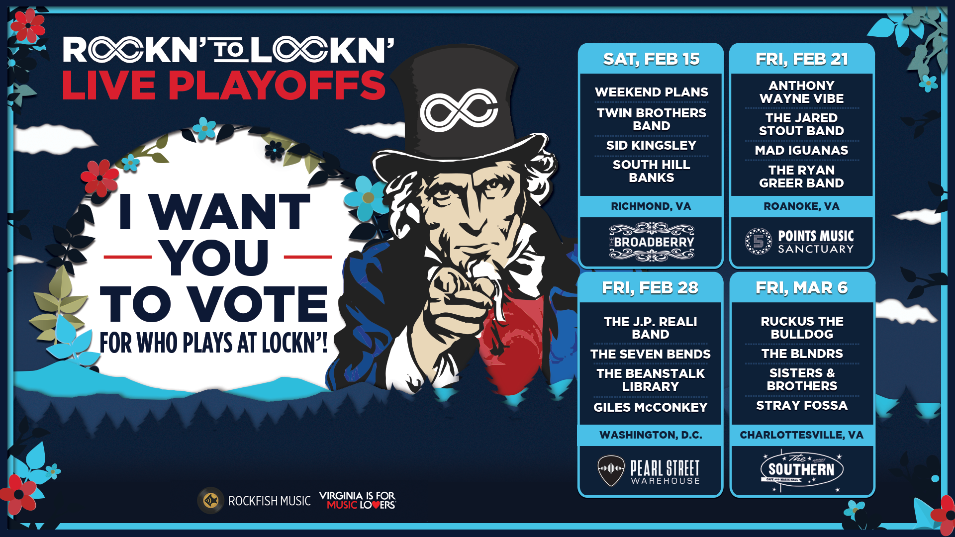 Announcing ROCKN' to LOCKN' Live Playoffs! Get Tickets and Vote Live for Who Plays LOCKN' 8