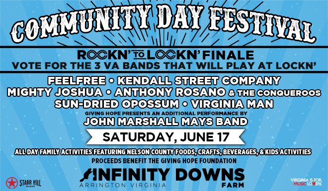 Rockn' to LOCKN' Finale at Community Day on Saturday, June 17!
